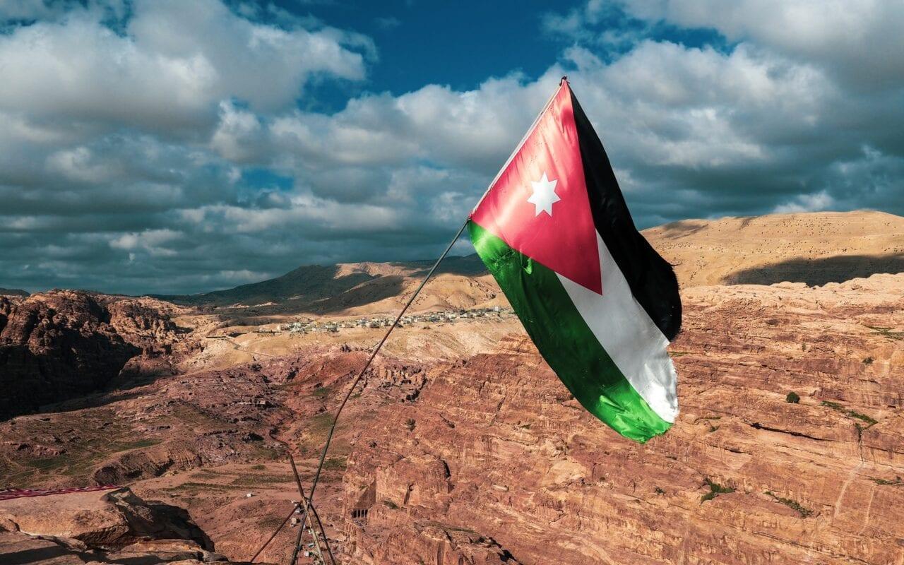 flaga jordanii w Petrze