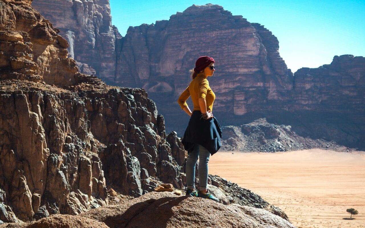 Widok na pustynię Wadi Rum